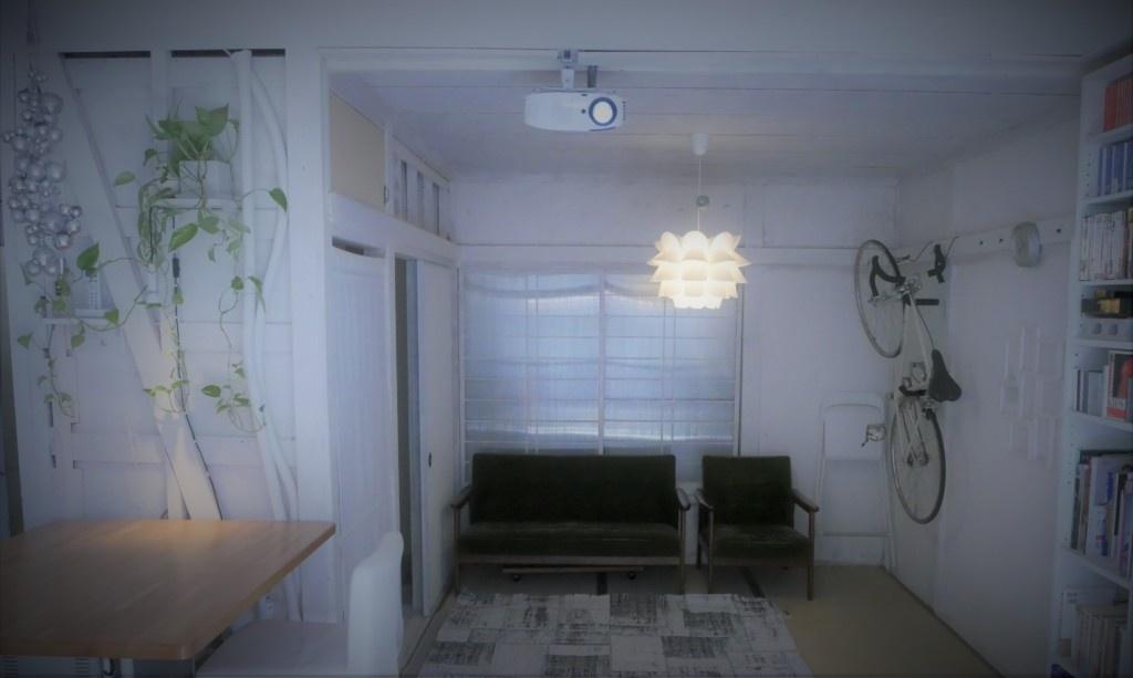 roomtheater,ルームシアターモドキ、プロジェクター、リビングシアター、IKEAハック